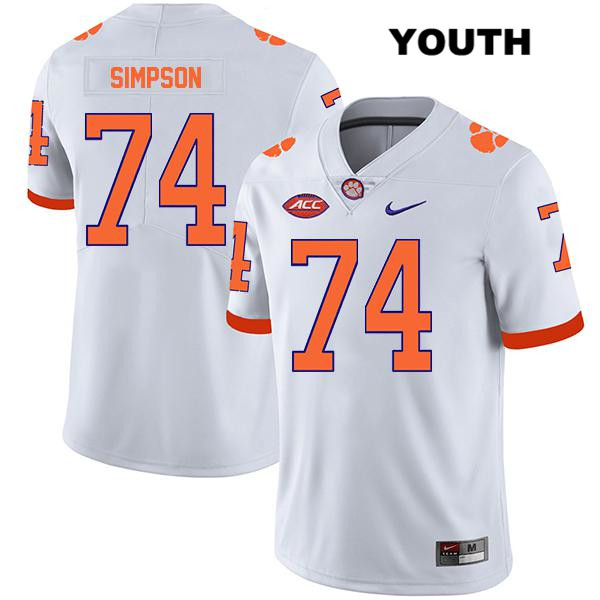 John Simpson Stitched Clemson Tigers no. 74 Youth Legend White Nike Authentic College Football Jersey - John Simpson Jersey