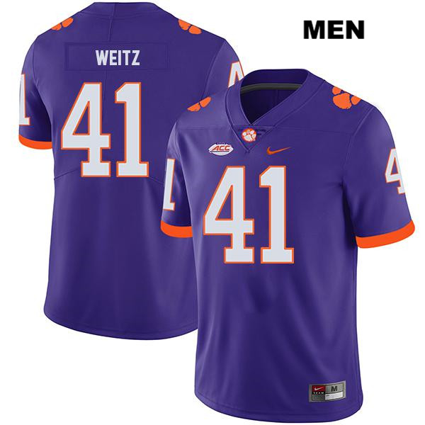 Legend Jonathan Weitz Clemson Tigers Stitched no. 41 Mens Purple Nike Authentic College Football Jersey - Jonathan Weitz Jersey
