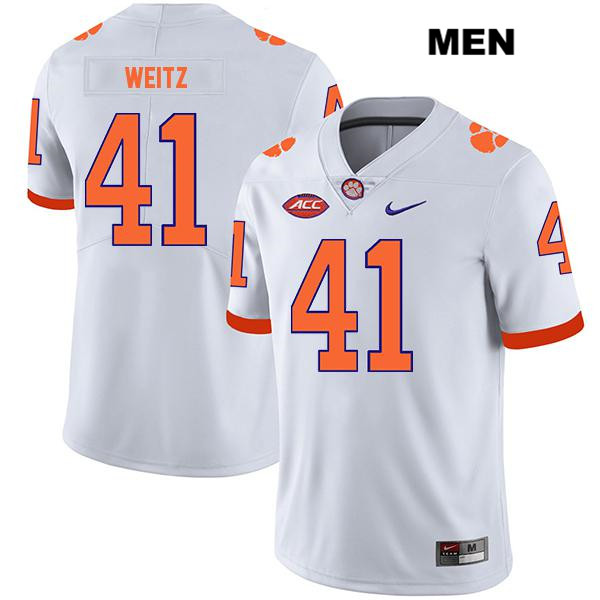 Jonathan Weitz Nike Clemson Tigers Legend no. 41 Mens Stitched White Authentic College Football Jersey - Jonathan Weitz Jersey