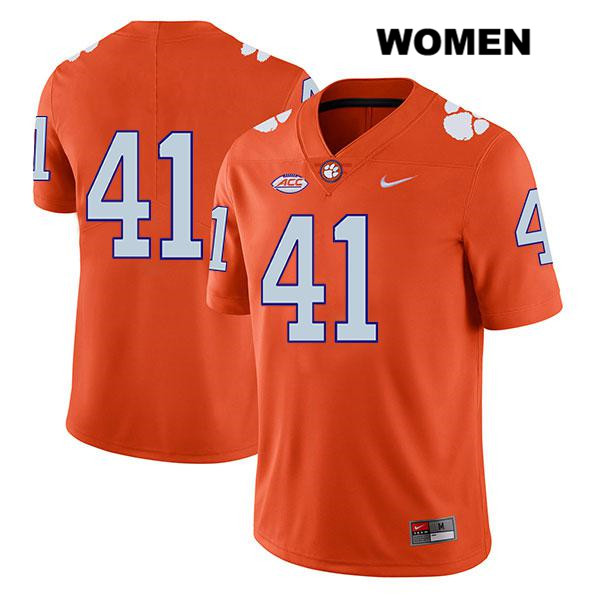 Nike Jonathan Weitz Stitched Clemson Tigers no. 41 Legend Womens Orange Authentic College Football Jersey - No Name - Jonathan Weitz Jersey