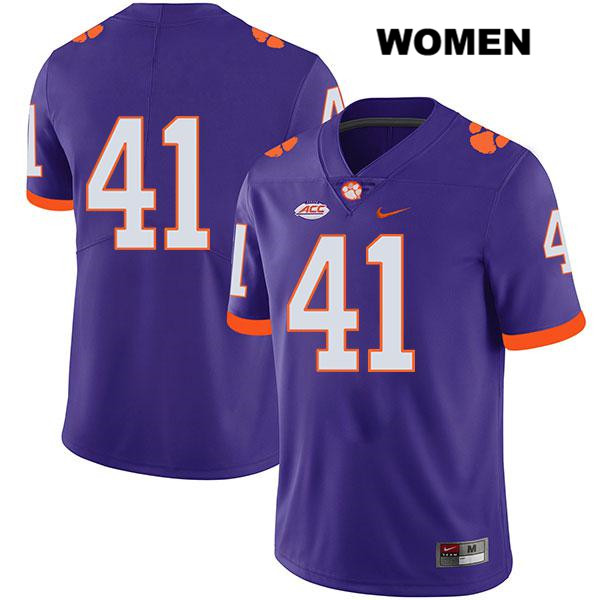 Jonathan Weitz Stitched Nike Clemson Tigers no. 41 Legend Womens Purple Authentic College Football Jersey - No Name - Jonathan Weitz Jersey