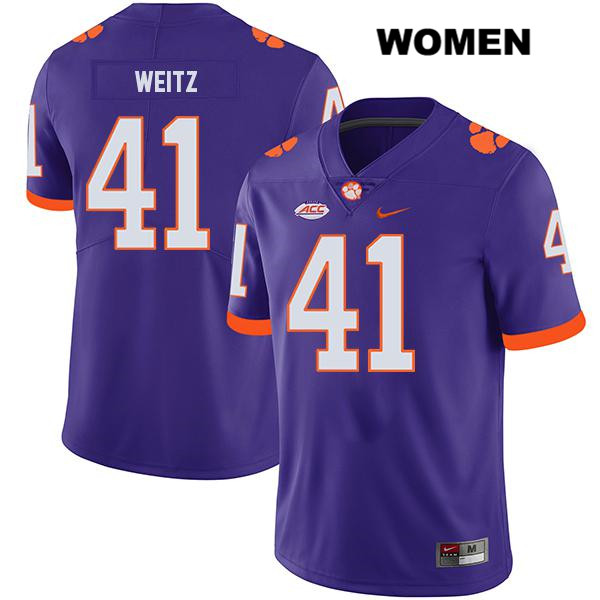 Jonathan Weitz Nike Clemson Tigers no. 41 Legend Stitched Womens Purple Authentic College Football Jersey - Jonathan Weitz Jersey