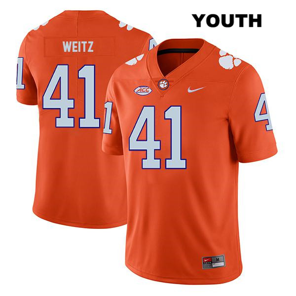 Jonathan Weitz Stitched Clemson Tigers no. 41 Nike Youth Legend Orange Authentic College Football Jersey - Jonathan Weitz Jersey