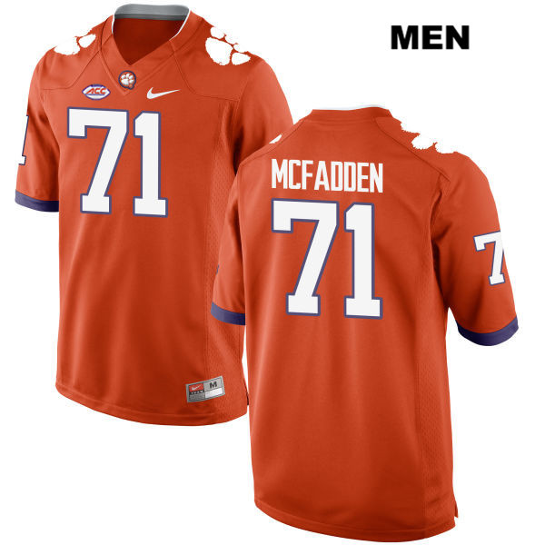 Stitched Jordan McFadden Style 2 Clemson Tigers no. 71 Mens Nike Orange Authentic College Football Jersey - Jordan McFadden Jersey
