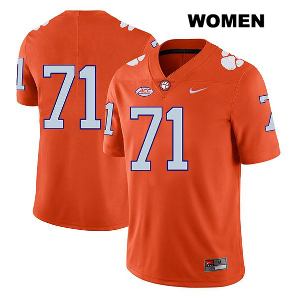 Stitched Jordan McFadden Nike Clemson Tigers no. 71 Womens Orange Legend Authentic College Football Jersey - No Name