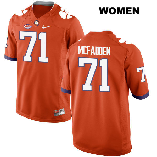 Stitched Jordan McFadden Style 2 Nike Clemson Tigers no. 71 Womens Orange Authentic College Football Jersey - Jordan McFadden Jersey
