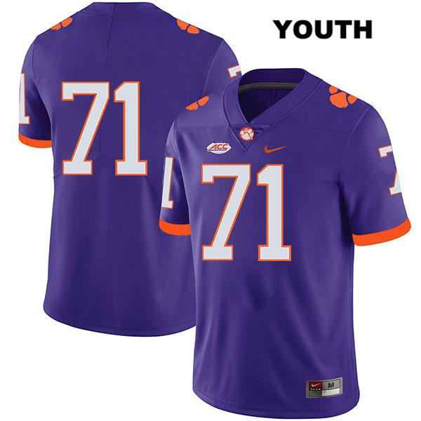 Jordan McFadden Stitched Clemson Tigers no. 71 Nike Youth Legend Purple Authentic College Football Jersey - No Name - Jordan McFadden Jersey
