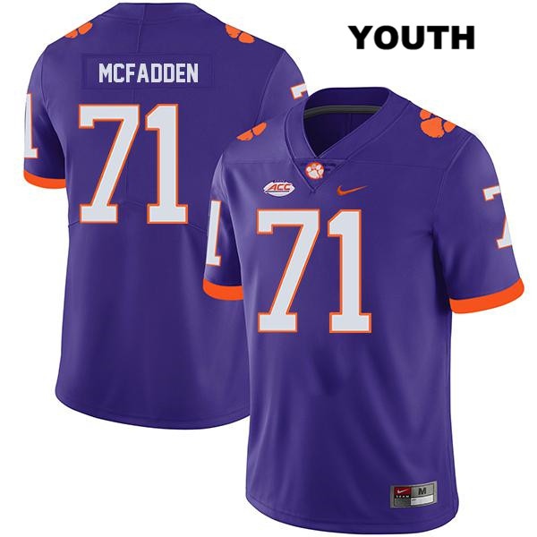 Jordan McFadden Clemson Tigers Nike no. 71 Stitched Youth Legend Purple Authentic College Football Jersey