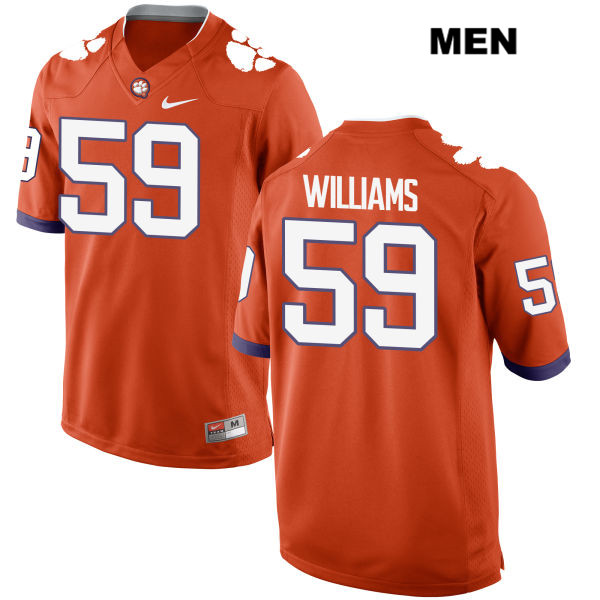 Jordan Williams Clemson Tigers no. 59 Mens Nike Orange Stitched Authentic College Football Jersey - Jordan Williams Jersey