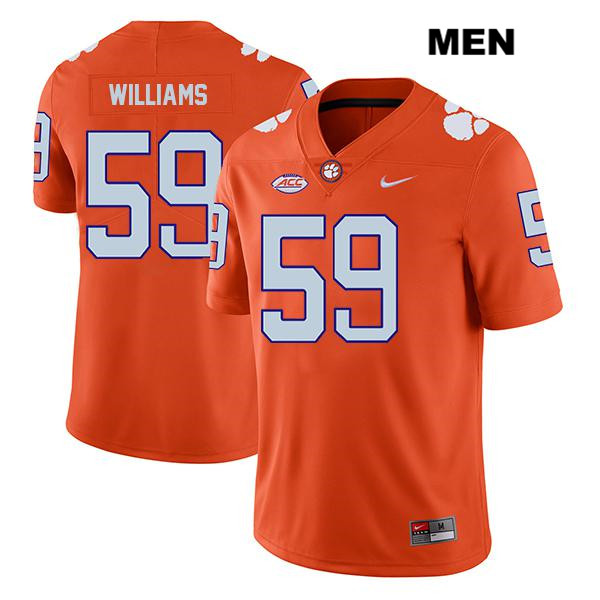 Jordan Williams Stitched Clemson Tigers no. 59 Mens Orange Legend Nike Authentic College Football Jersey - Jordan Williams Jersey