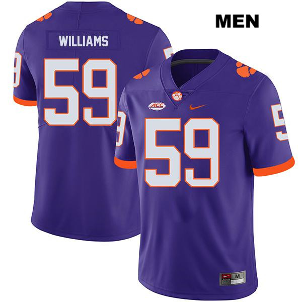Jordan Williams Clemson Tigers Nike no. 59 Mens Stitched Purple Legend Authentic College Football Jersey - Jordan Williams Jersey
