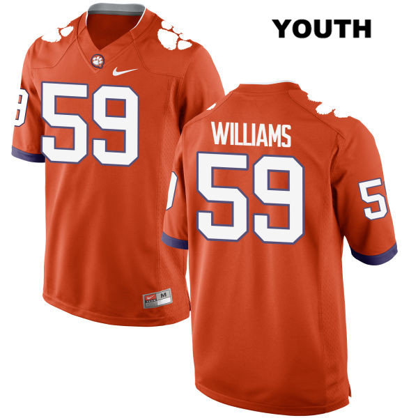 Nike Jordan Williams Clemson Tigers no. 59 Youth Orange Stitched Authentic College Football Jersey - Jordan Williams Jersey