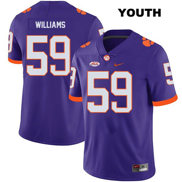 Nike Jordan Williams Clemson Tigers no. 59 Stitched Youth Legend Purple Authentic College Football Jersey - Jordan Williams Jersey