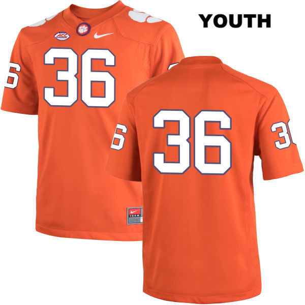 Judah Davis Clemson Tigers no. 36 Stitched Youth Orange Nike Authentic College Football Jersey - No Name - Judah Davis Jersey