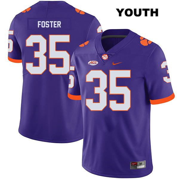 Justin Foster Clemson Tigers no. 35 Nike Youth Legend Purple Stitched Authentic College Football Jersey - Justin Foster Jersey