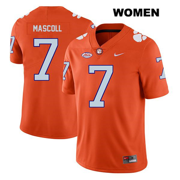 Justin Mascoll Clemson Tigers no. 7 Legend Womens Stitched Orange Nike Authentic College Football Jersey - Justin Mascoll Jersey