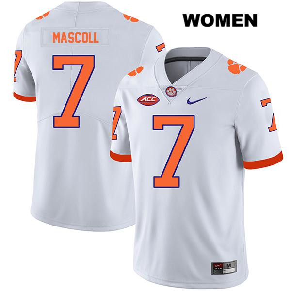 Stitched Justin Mascoll Clemson Tigers Nike no. 7 Womens White Legend Authentic College Football Jersey - Justin Mascoll Jersey