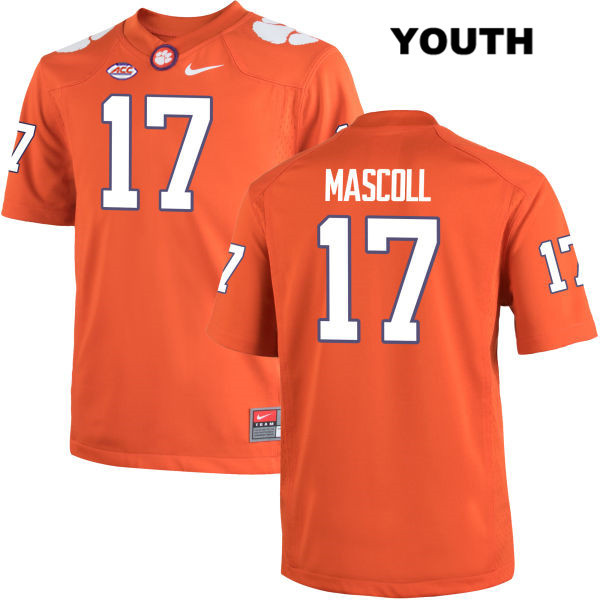 Justin Mascoll Clemson Tigers Stitched no. 17 Nike Youth Orange Authentic College Football Jersey - Justin Mascoll Jersey