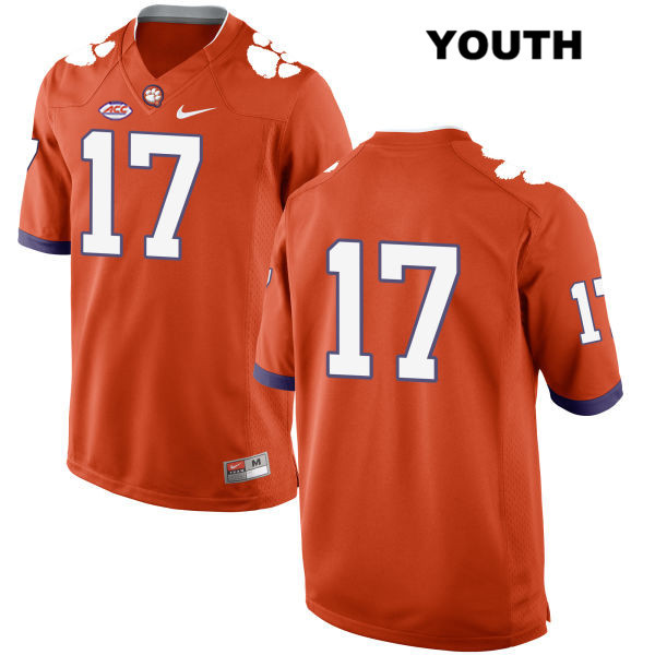 Style 2 Justin Mascoll Stitched Clemson Tigers no. 17 Youth Nike Orange Authentic College Football Jersey - No Name - Justin Mascoll Jersey