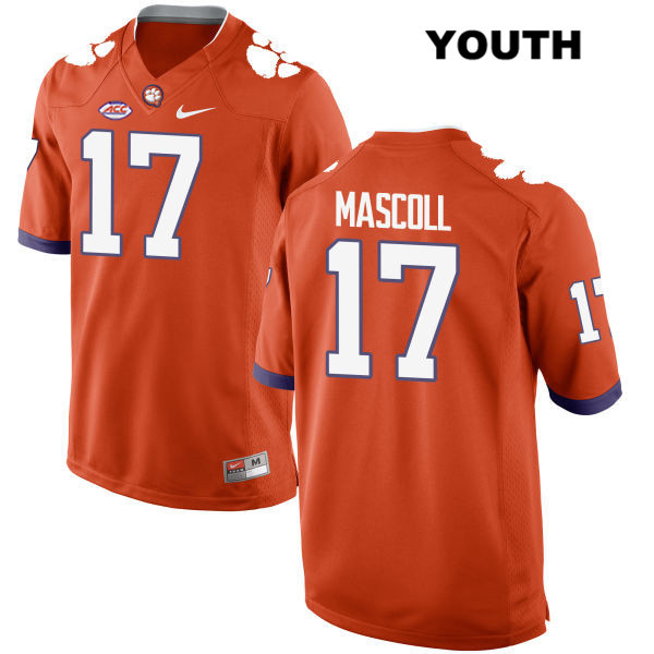 Justin Mascoll Stitched Clemson Tigers no. 17 Style 2 Youth Orange Nike Authentic College Football Jersey - Justin Mascoll Jersey