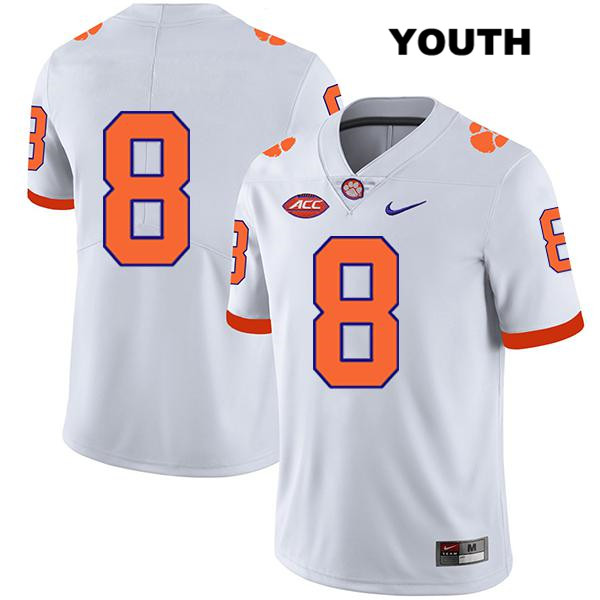 Justyn Ross Clemson Tigers Stitched no. 8 Legend Youth White Nike Authentic College Football Jersey - No Name - Justyn Ross Jersey