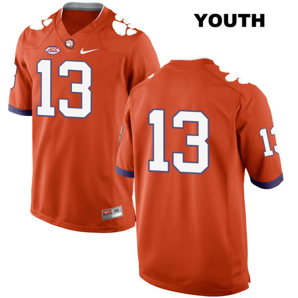 K.J. Henry Clemson Tigers no. 13 Style 2 Youth Nike Orange Stitched Authentic College Football Jersey - No Name - K.J. Henry Jersey