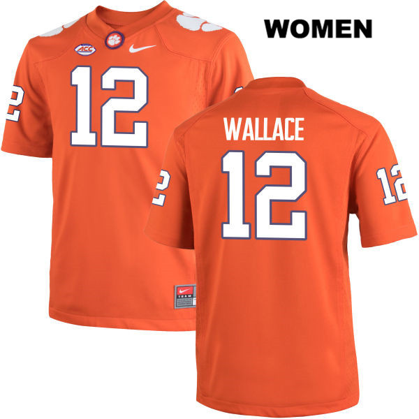 K'Von Wallace Stitched Clemson Tigers no. 12 Womens Nike Orange Authentic College Football Jersey - K'Von Wallace Jersey