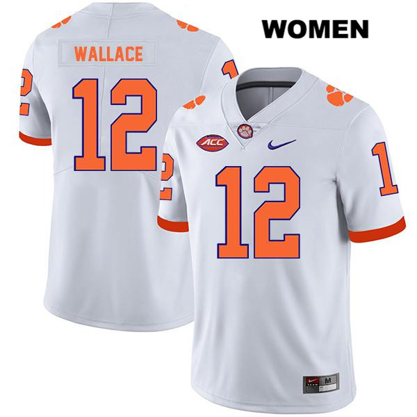 K'Von Wallace Legend Clemson Tigers no. 12 Womens Stitched White Nike Authentic College Football Jersey - K'Von Wallace Jersey