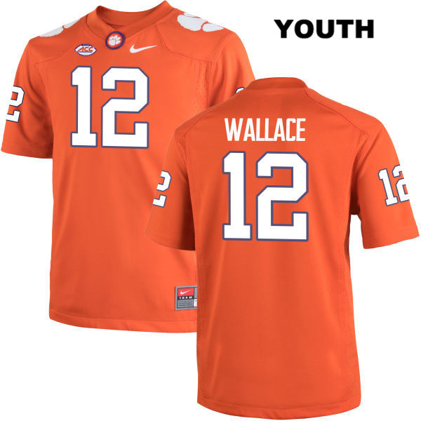 K'Von Wallace Clemson Tigers Nike no. 12 Youth Orange Stitched Authentic College Football Jersey - K'Von Wallace Jersey