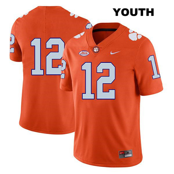 K'Von Wallace Clemson Tigers Nike no. 12 Youth Legend Orange Stitched Authentic College Football Jersey - No Name - K'Von Wallace Jersey