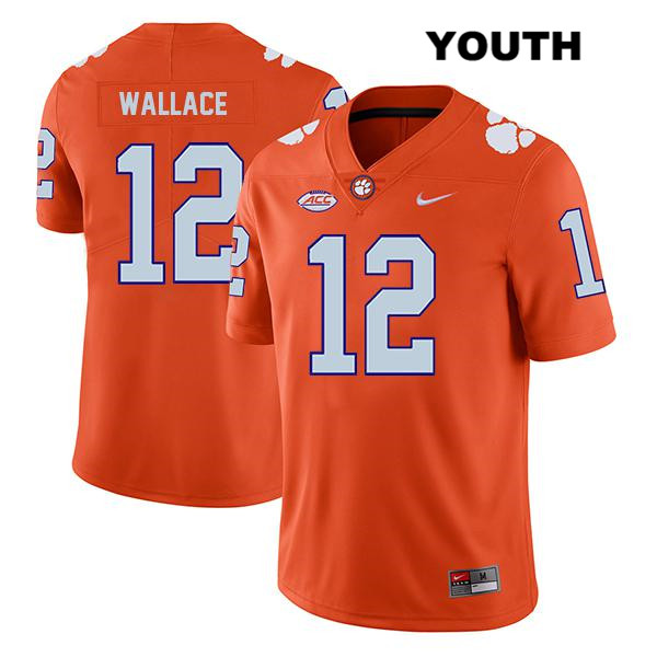 Legend K'Von Wallace Stitched Clemson Tigers no. 12 Nike Youth Orange Authentic College Football Jersey - K'Von Wallace Jersey