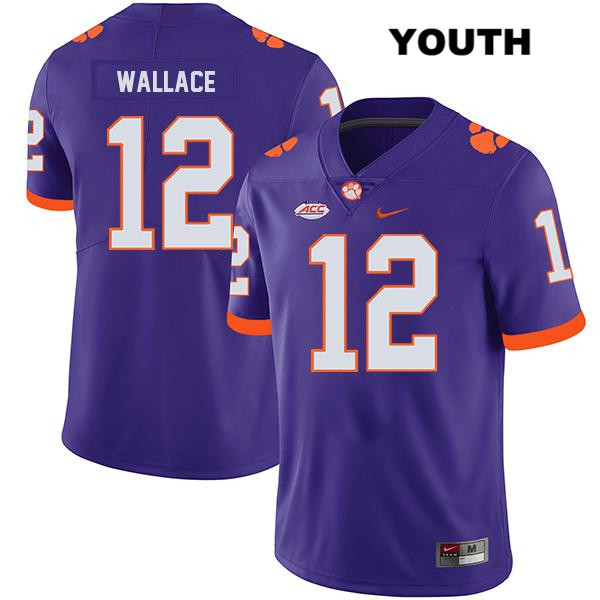 K'Von Wallace Stitched Clemson Tigers no. 12 Youth Legend Purple Nike Authentic College Football Jersey - K'Von Wallace Jersey
