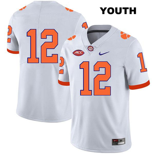 Stitched K'Von Wallace Clemson Tigers Legend Nike no. 12 Youth White Authentic College Football Jersey - No Name - K'Von Wallace Jersey