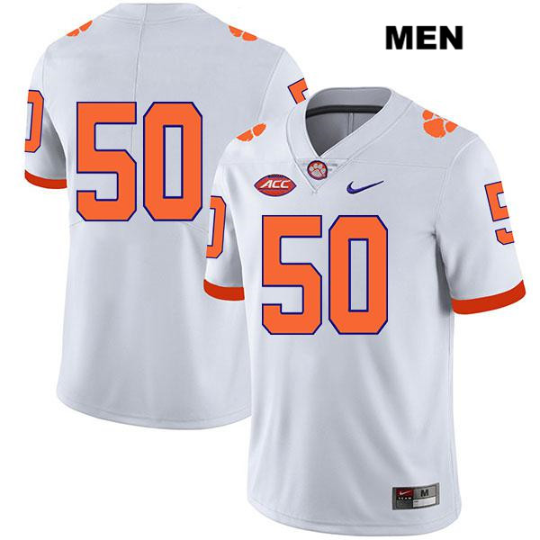 Kaleb Boateng Legend Clemson Tigers Stitched no. 50 Nike Mens White Authentic College Football Jersey - No Name - Kaleb Boateng Jersey