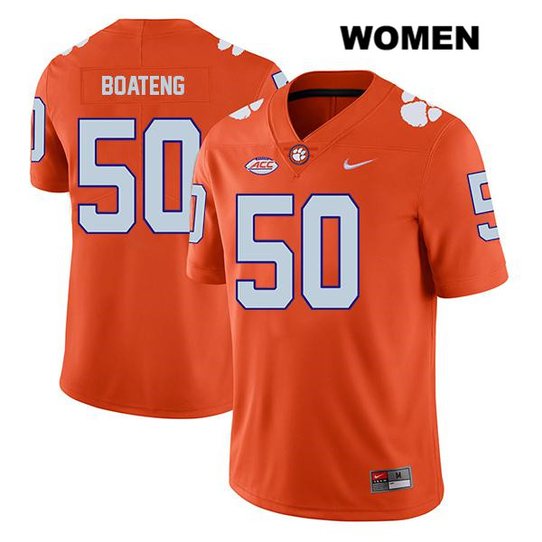 Kaleb Boateng Clemson Tigers Legend no. 50 Stitched Womens Orange Nike Authentic College Football Jersey - Kaleb Boateng Jersey