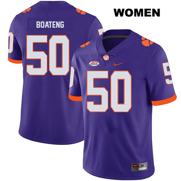 Nike Kaleb Boateng Clemson Tigers no. 50 Womens Stitched Purple Legend Authentic College Football Jersey - Kaleb Boateng Jersey