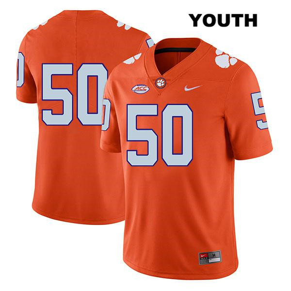 Kaleb Boateng Clemson Tigers no. 50 Stitched Youth Legend Orange Nike Authentic College Football Jersey - No Name - Kaleb Boateng Jersey