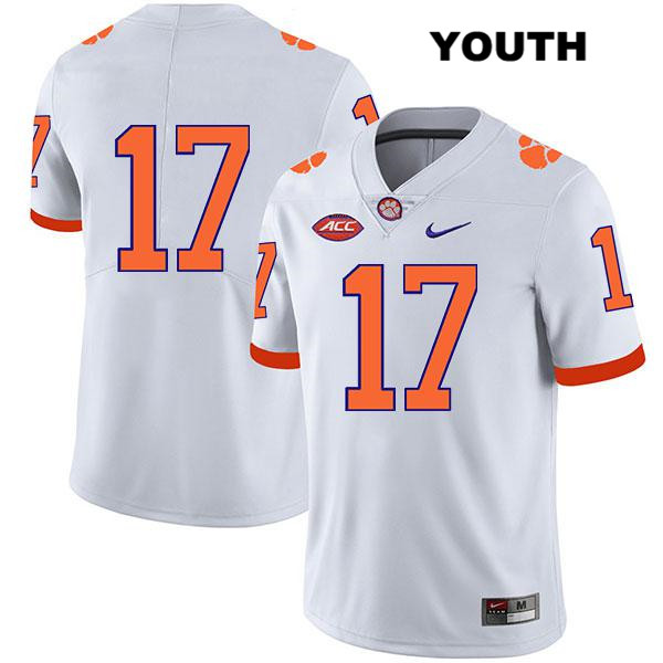 Kane Patterson Clemson Tigers Stitched no. 17 Legend Youth White Nike Authentic College Football Jersey - No Name - Kane Patterson Jersey