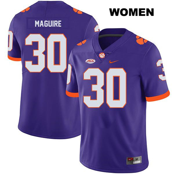Keith Maguire Stitched Clemson Tigers Nike no. 30 Womens Legend Purple Authentic College Football Jersey - Keith Maguire Jersey