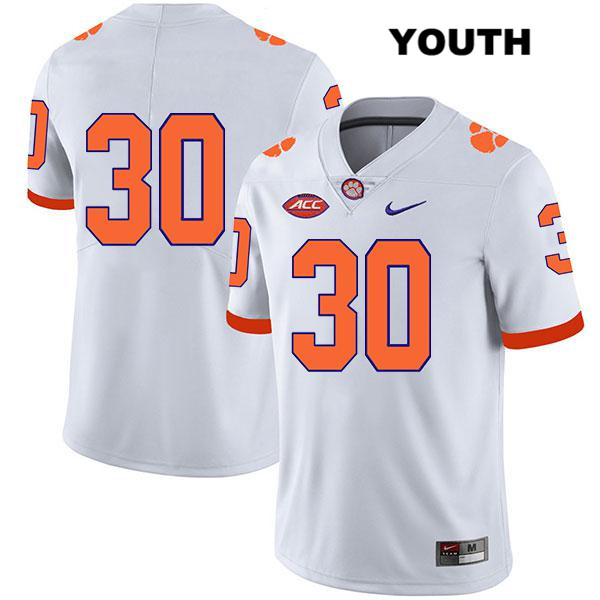 Keith Maguire Clemson Tigers Legend no. 30 Nike Youth White Stitched Authentic College Football Jersey - No Name - Keith Maguire Jersey
