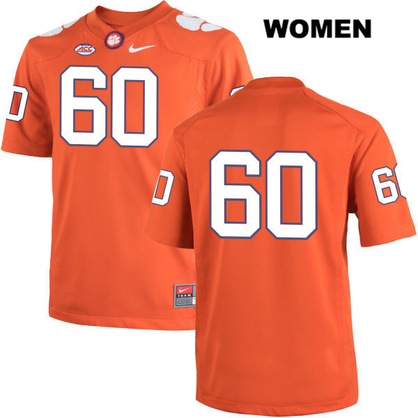 Kelby Bevelle Clemson Tigers Stitched no. 60 Womens Nike Orange Authentic College Football Jersey - No Name - Kelby Bevelle Jersey