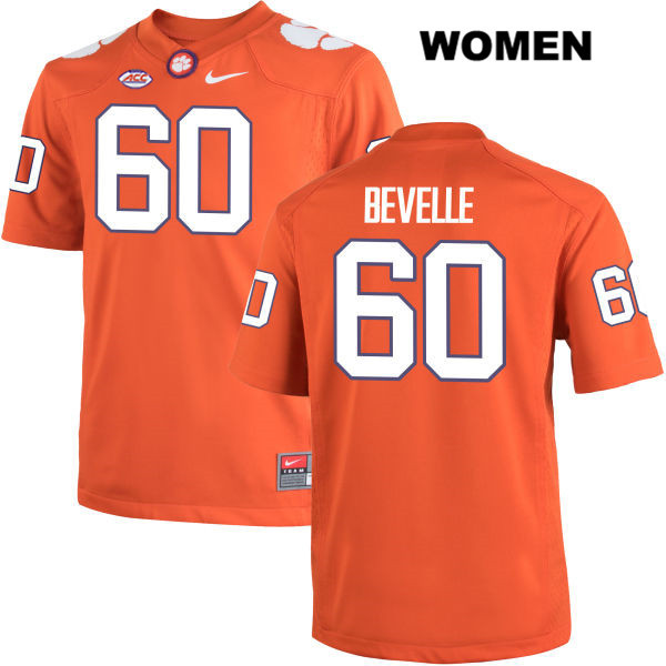 Kelby Bevelle Clemson Tigers no. 60 Nike Womens Stitched Orange Authentic College Football Jersey - Kelby Bevelle Jersey
