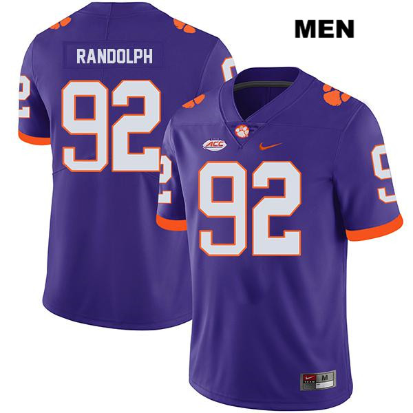 Klayton Randolph Clemson Tigers no. 92 Legend Mens Purple Stitched Nike Authentic College Football Jersey - Klayton Randolph Jersey