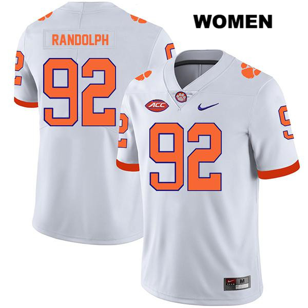 Nike Klayton Randolph Clemson Tigers Stitched no. 92 Womens White Legend Authentic College Football Jersey - Klayton Randolph Jersey