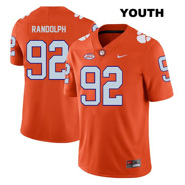Klayton Randolph Stitched Clemson Tigers no. 92 Nike Youth Orange Legend Authentic College Football Jersey - Klayton Randolph Jersey