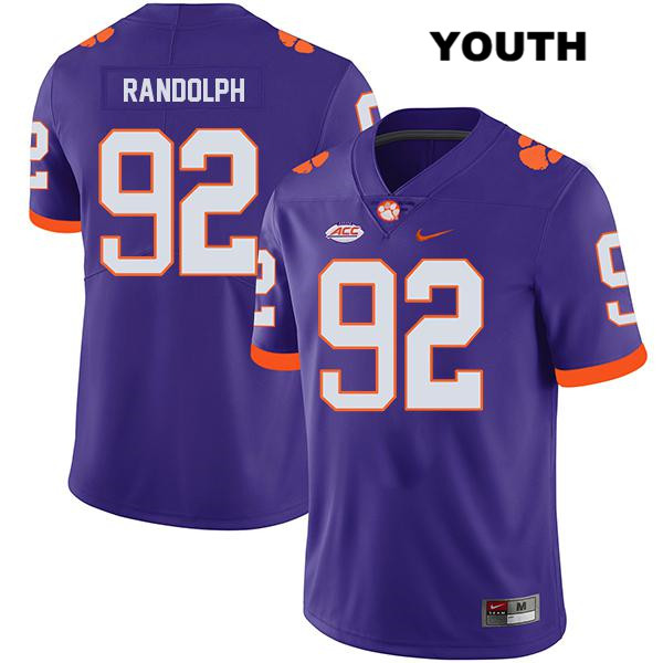 Klayton Randolph Clemson Tigers Nike no. 92 Youth Stitched Purple Legend Authentic College Football Jersey - Klayton Randolph Jersey