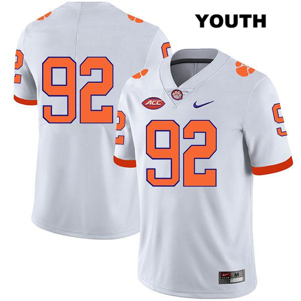 Klayton Randolph Nike Clemson Tigers no. 92 Stitched Youth White Legend Authentic College Football Jersey - No Name - Klayton Randolph Jersey