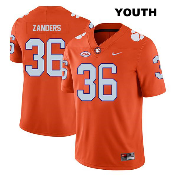 Nike Lannden Zanders Clemson Tigers no. 36 Stitched Youth Legend Orange Authentic College Football Jersey