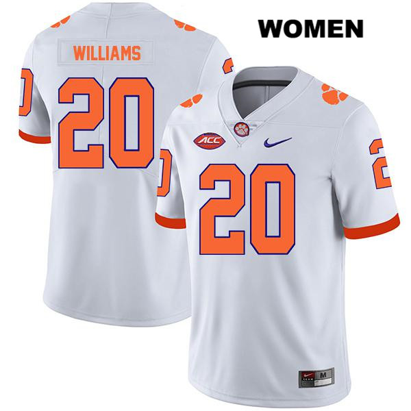 Nike LeAnthony Williams Legend Clemson Tigers Stitched no. 20 Womens White Authentic College Football Jersey