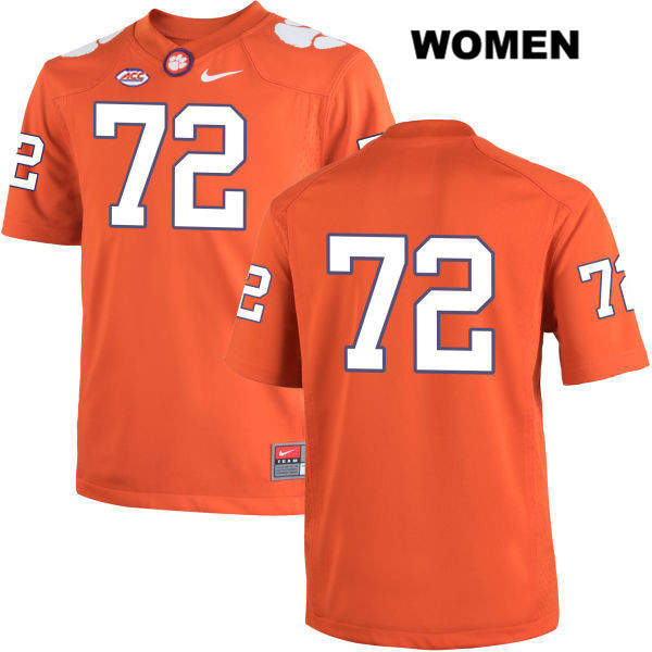 Logan Tisch Nike Clemson Tigers Stitched no. 72 Womens Orange Authentic College Football Jersey - No Name - Logan Tisch Jersey